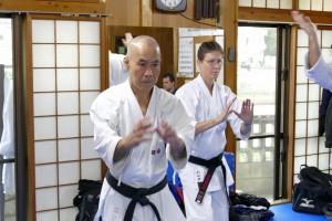 kata training with Taira Sensei in Naha in 2015