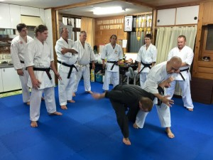 Training at Taira Sensei's home dojo in Naha in 2015