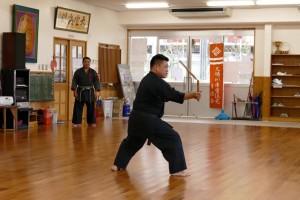 Satoshi Kinjo Sensei demonstrating Kubagawa no nunchaku
