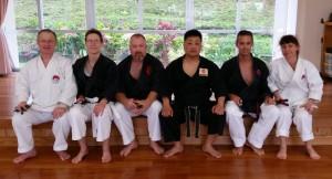 Post training picture at the Kubagawa Dojo of the Kinjo family after kobudo training.